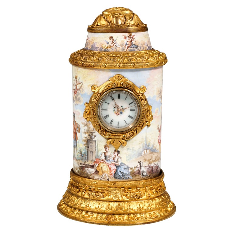 19th Century Viennese Enamel Table Clock with Fire-Gilding and Watteau Painting For Sale