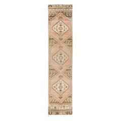 Narrow Vintage Anatolian Runner Rug, Wool Handmade Carpet for Hallway