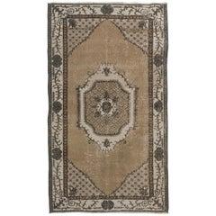 Authentic Vintage Turkish Oushak Rug, Geometric Design Carpet