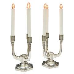 Period Art Deco Silvered Bronze Lamps/Candlesticks