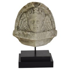 French Late 18th/ Early 19th Century Carved Stone Winged Angel Head