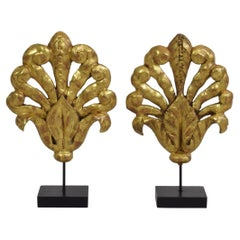 Pair of Late 18th/ Early 19th Century French Carved Giltwood Ornaments