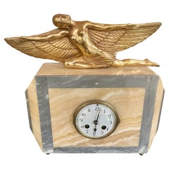 Lady Icarus Gilded Art Deco Statue Adorns Marble French Clock