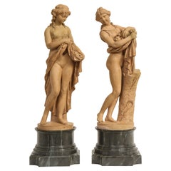 Pair of Early French Terracotta Figures of Pomona and a Girl, Signed Clodion