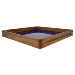 Medium Blue Walnut Square Tray, in Stock