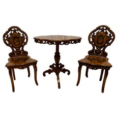 Antique German Black Forest Wood-Carved Hunt Table & 2 Chairs, Circa 1880-1890
