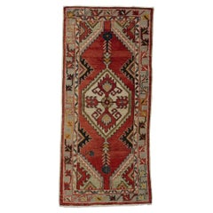 1960's Hand Made Oriental Accent Rug, Vintage All Wool Tribal Carpet