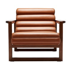 Contemporary Fluted Florence Easy Chair in Tan Leather and Oiled Walnut Frame