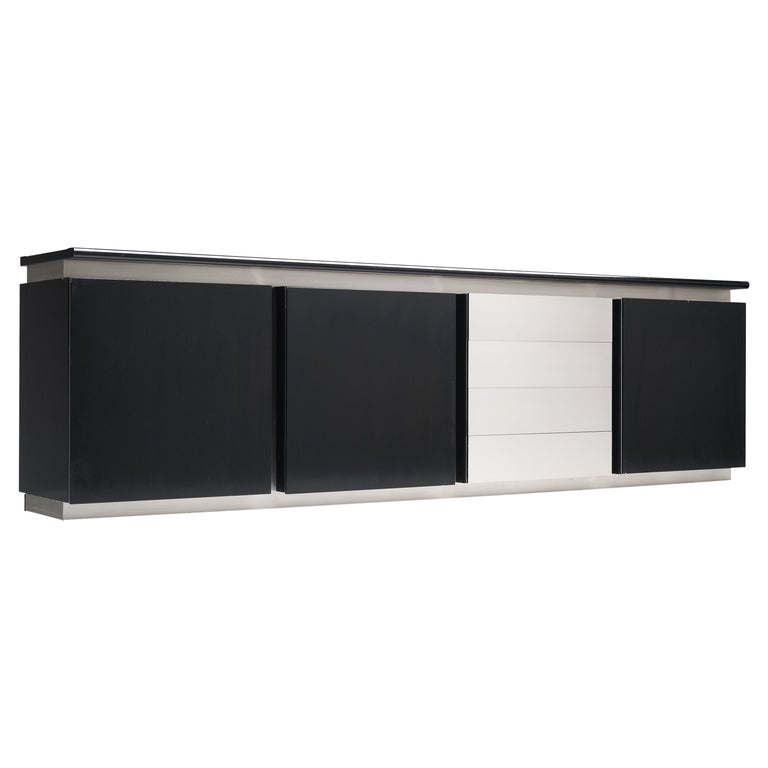 Ludovico Acerbis Sideboard in Stained Oak and Aluminium For Sale