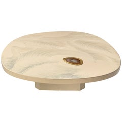 Jean Claude Dresse Freeform Coffee Table in White Resin, Brass and Agate