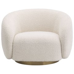 off White Bouclé Fabric with Brass Finishes Swivel Armchair
