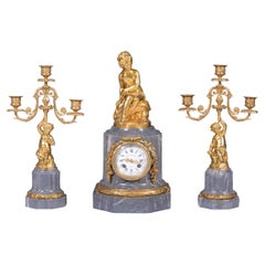 19th Century French Clock Garniture By Prosper Roussel Of Paris