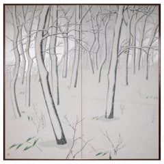 Japanese Two Panel Screen Snow Flakes Falling in the Forest