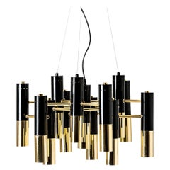 Italian 1960s Design Style Black Lacqured and Gilded Metal Chandelier