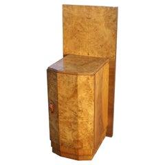 Art Deco Style Maple Burl Night Stand Cabinet