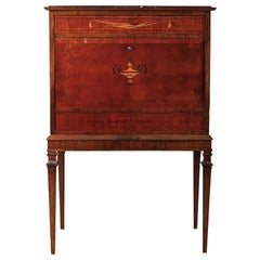 Early 20th Century Secretary with Drawers and Marquetry and Brass Details