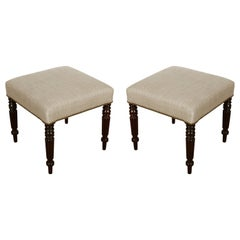Pair of English Upholstered Stools