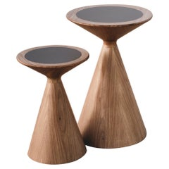Carioca Large Sidetable and Stool in Freijo Wood