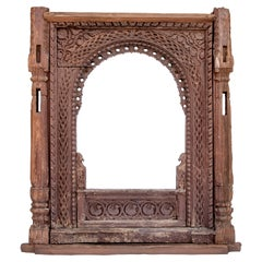 Hand Carved Newar Window Frame Late 19th Century, Kathmandu Valley, Nepal