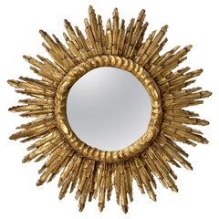 French Gilt Sunburst or Starburst Mirror (Diameter 27 1/2)