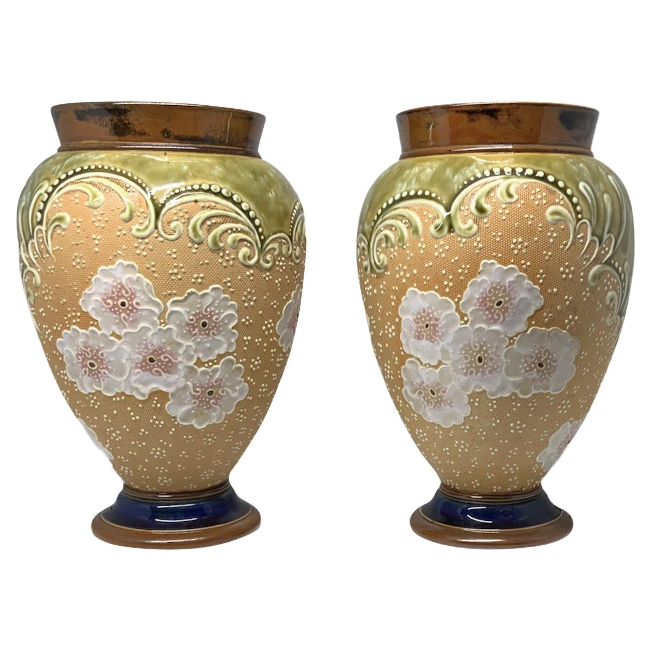 Royal Doulton and Slater Hand Painted Pair of Stoneware Vases
