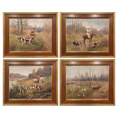 Set of Four 19th Century Framed Oil on Canvas Hunt Paintings Signed E. Godchaux