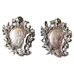 19th Century Pair of Silver Menus Holders with Medallion and Floral Decoration