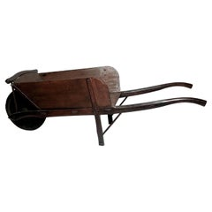 Antique 19th Century French Provincial Wooden Wheel Barrow