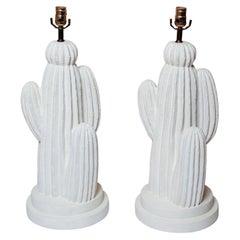 Vintage Pair of White Plaster Cactus Lamps, Circa 1975