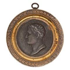 Antique 19th Century French Plaque or Rondel of Napoleon Bonaparte as Caesar
