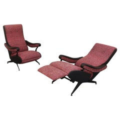 Pair Extendable Armchair Italy 1960 Zanuso Style