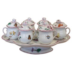 1930s French Porcelain Tasse Trembleuse Chocolate Set w/ 6 Drinking Cups & Tray
