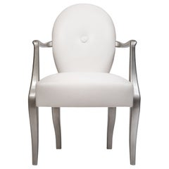Contemporary Chair with Armrests, Wood Frame, Made in Italy
