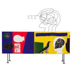 Modern Mimmo Paladino Cabinet Sideboard Storage Unit Matt Lacquered Colourful