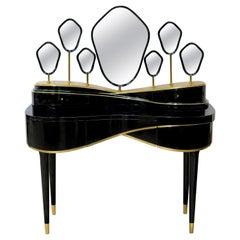 21st Century Petit Amélie Dressing Table Lacquered Wood Seven Mirrors