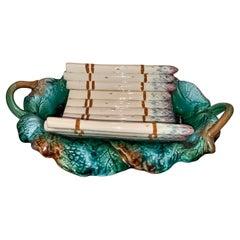 Antique Majolica Pottery Porcelain Asparagus Platter, Circa 1900