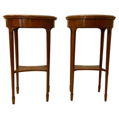 Pair Antique French Grey and White Marble-Top Satinwood Side Tables with Inlay