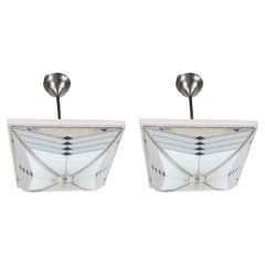 Pair of Art Deco Chrome and Glass Pendant Ceiling Lights