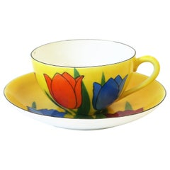 Yellow Porcelain Tulip Flowers Coffee or Tea Cup Saucer