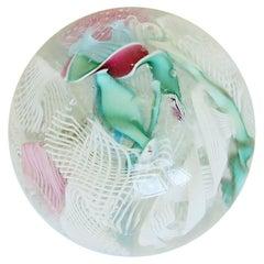 Italian Murano Millefiori Art Glass Paperweight