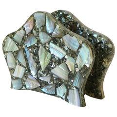 Abalone Seashell and Lucite Napkin Holder