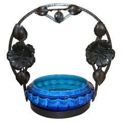 French Art Nouveau Paul Milet Sevres Ceramic Flower Wrought Iron Turquoise Bowl