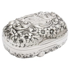 Victorian Period Sterling Silver Soap Box with Hinged Lid, Gorham