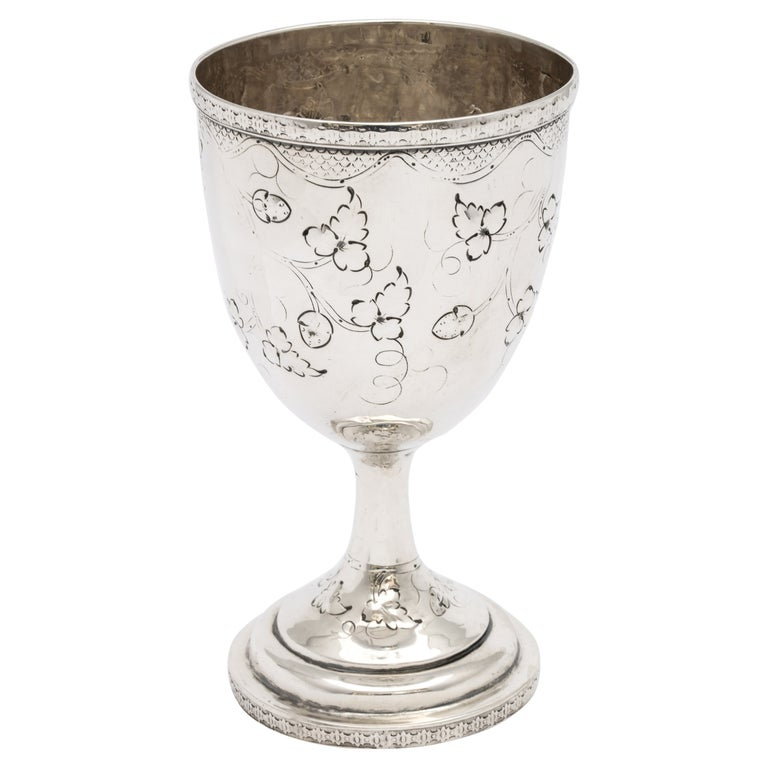 American Coin Silver '.900' Goblet by Peter L. Krider For Sale