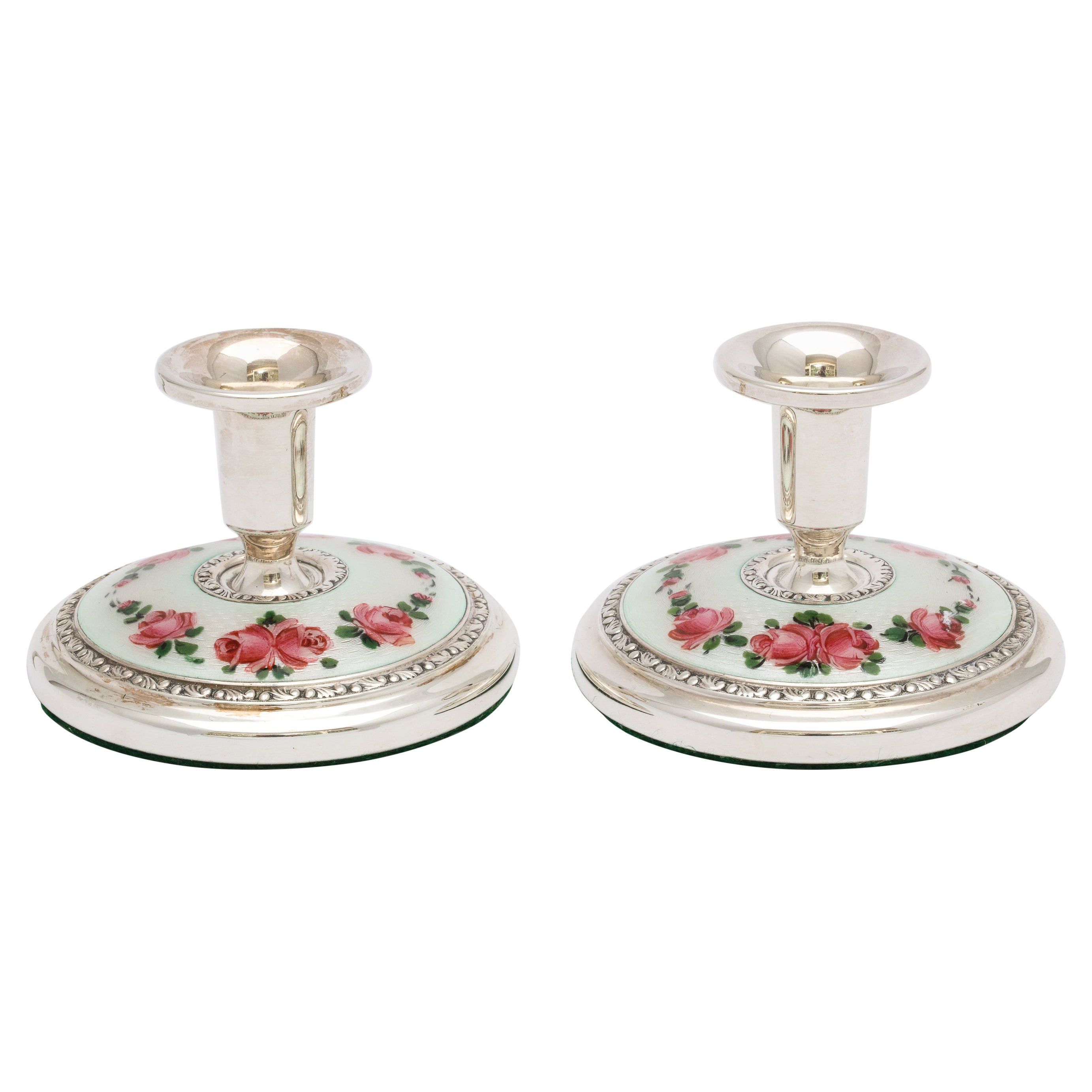Pair of Norwegian Art Deco Sterling Silver and Guilloche Enamel Candlesticks