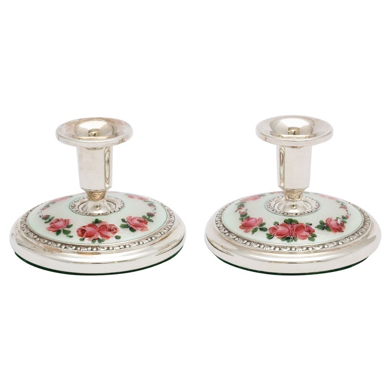 Pair of Norwegian Art Deco Sterling Silver and Guilloche Enamel Candlesticks For Sale