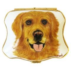 French Porcelain Golden Retriever Dog Jewelry Box