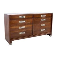 Willett Furniture Mid Century Walnut 8 Drawer Lowboy Dresser