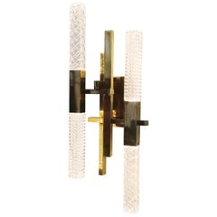 Mikado Wall Lamp in Satin Brass and Crystal Diffusers
