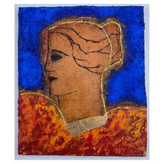 Classical Head, Contemporary Mixed Media Figurative Painting
